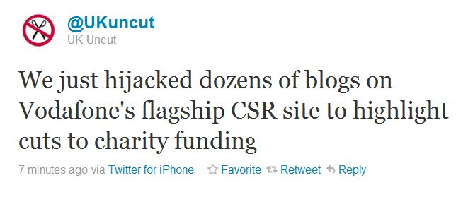 We just hijacked dozens of blogs on Vodafone's flagship CSR site to highlight cuts to charity funding