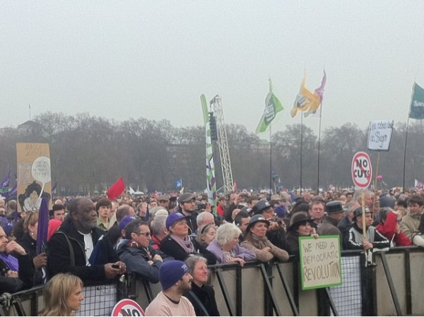 Front row of the rally in Hyde Park