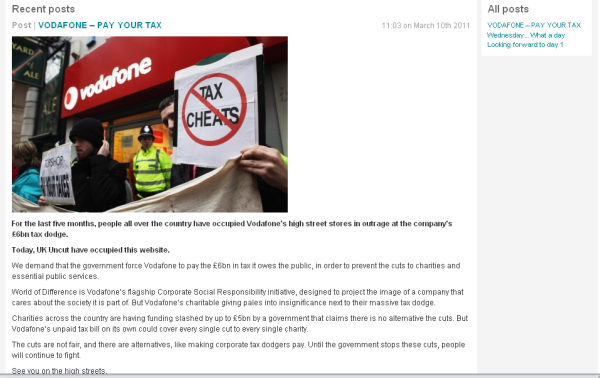 Vodafone blog screenshot