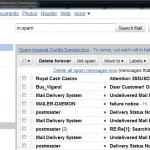 Screenshot of GMail spam folder