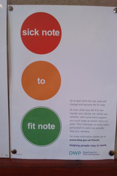 """Fit Note"" poster seen in my doctor's waiting room."