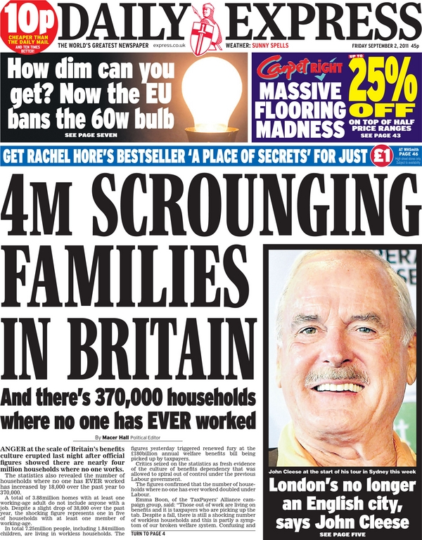 Daily Express headline: 4M SCROUNGING FAMILIES IN BRITAIN