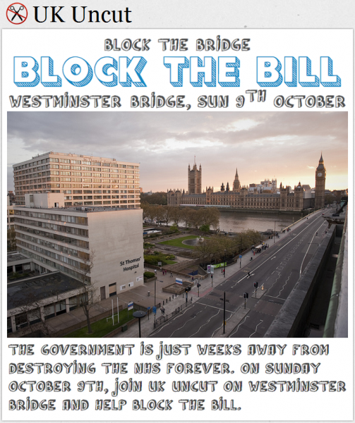UK Uncut: Block the bridge, block the bill