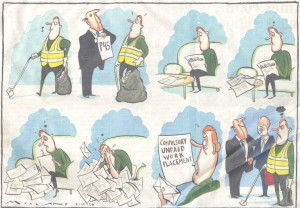 Times cartoon on compulsory work placements