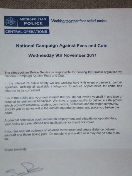 Letter sent by Met warning about behaviour at protests