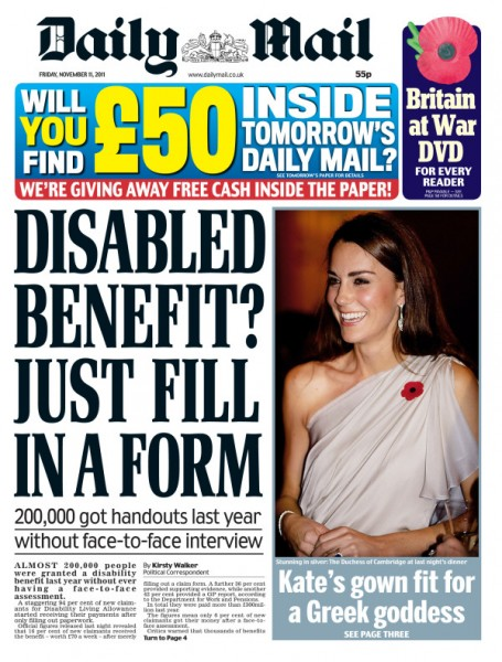Daily Mail front page 11/11/2011