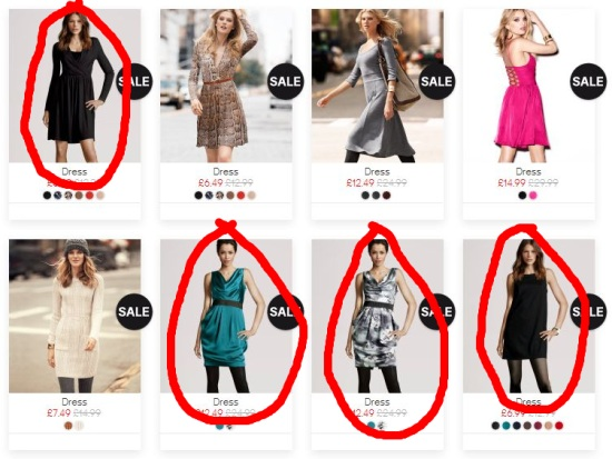 H&M screenshot with virtual models circled