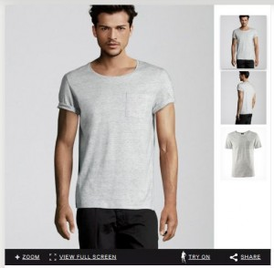 screenshot from H&M website showing mail virtual model.