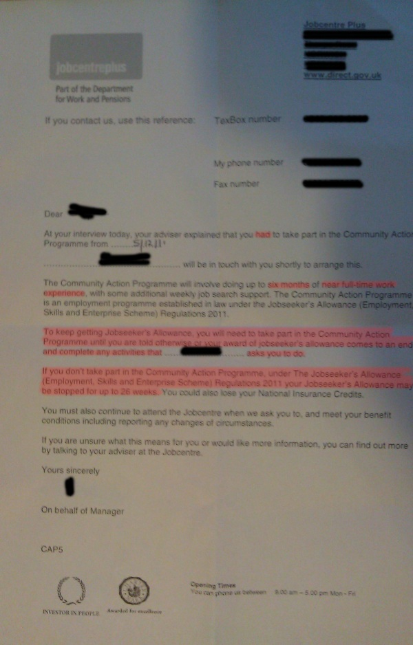 DWP letter - referral to community action programme