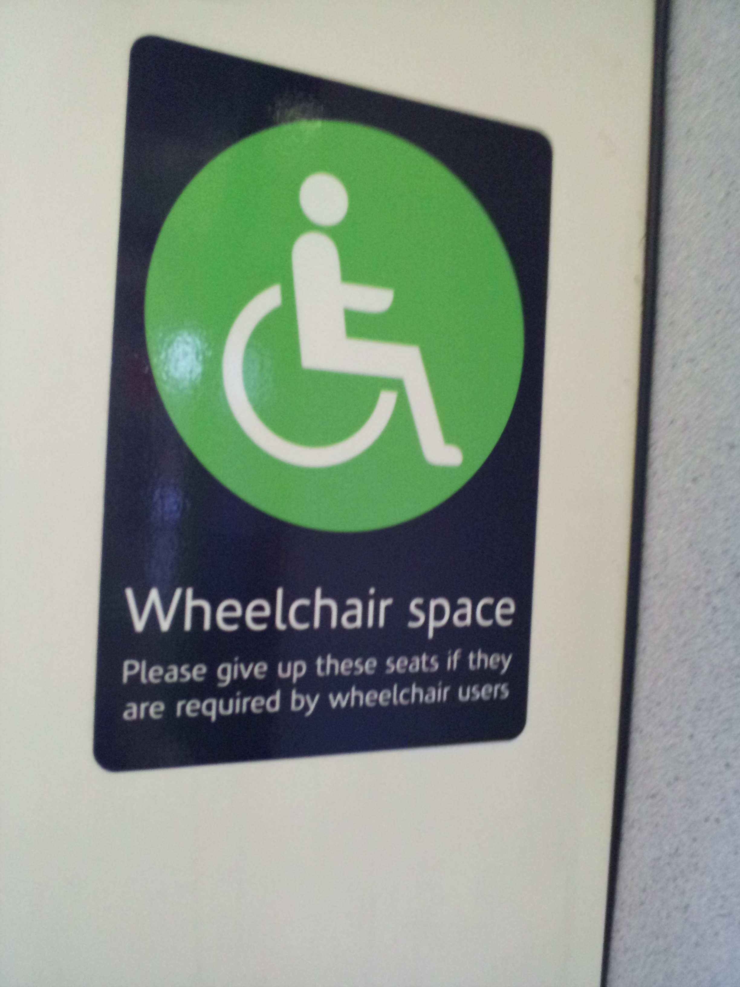 Sign: Wheelchair Space
