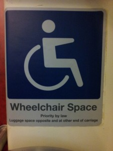 Sign: Wheelchair Space: Priority by law