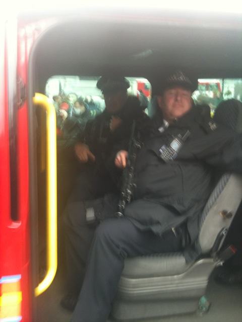 Armed police at Save the NHS protest - photo by @heardinlondon