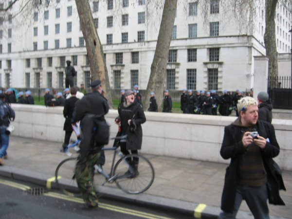 Riot police appear suddenly - photo by Cai Wingfield