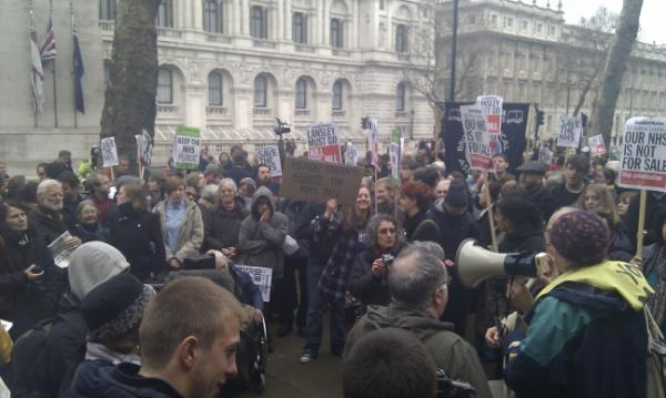 """protest in Whitehall"" - photo by @COPDdoc"