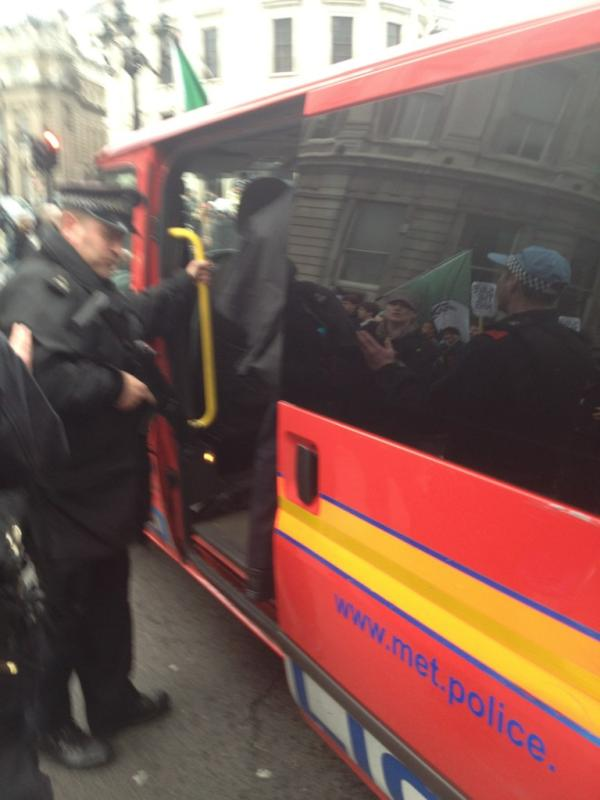 Armed police leaving NHS rally - picture by @WailQ