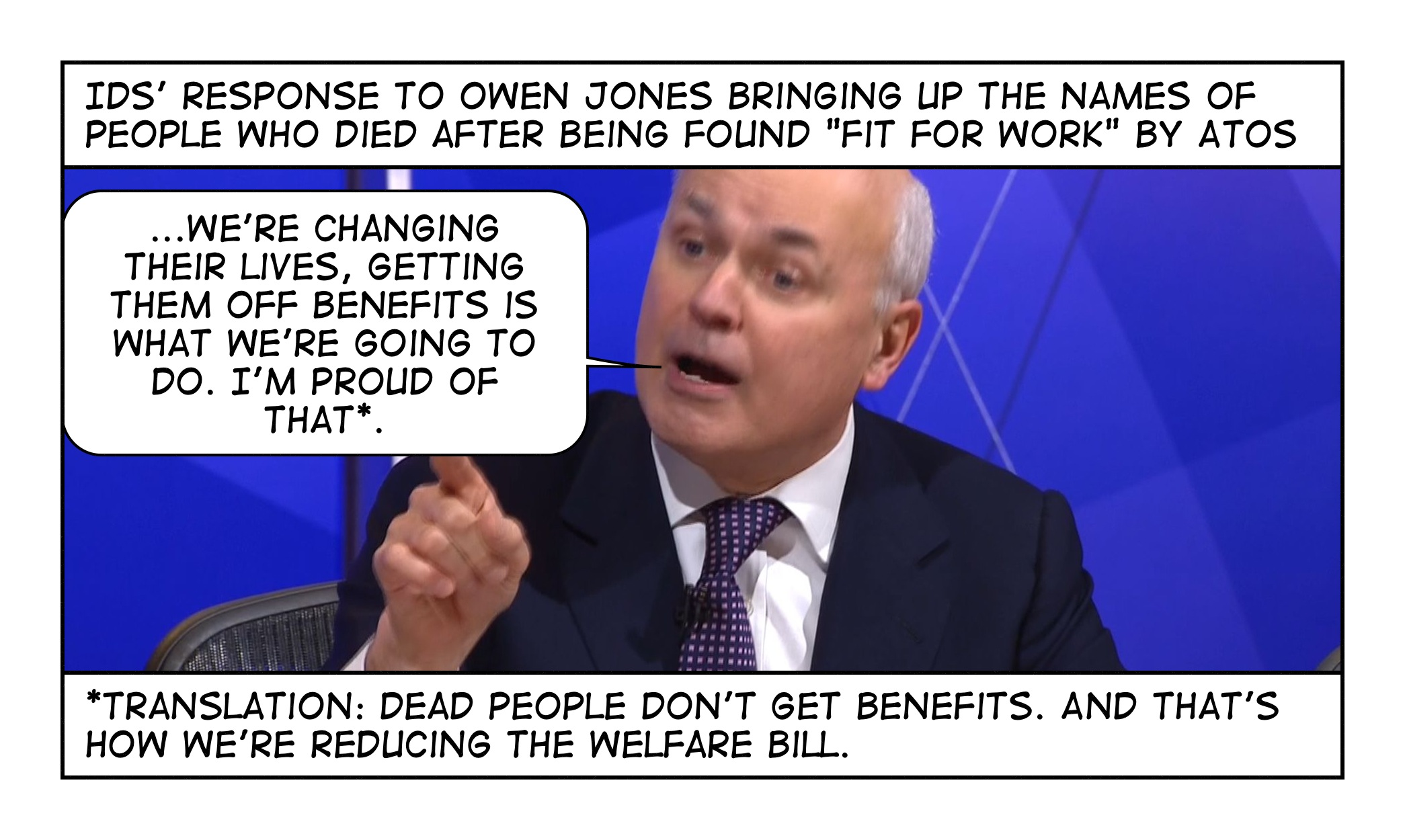 Dead people don't get benefits – cartoon by @dochackenbush