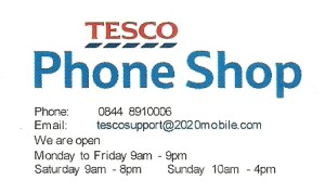 Tesco paperwork showing an email address at 2020 mobile