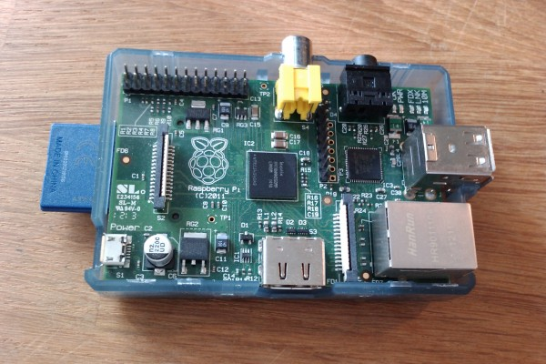 A Raspberry Pi in an open case