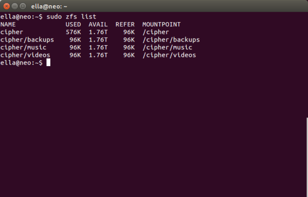 Screenshot showing output of zfs list command
