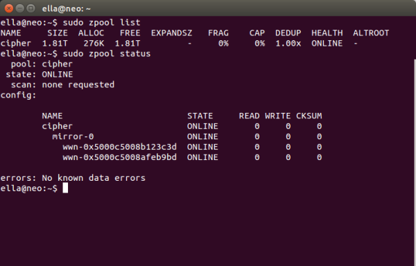 Screenshot showing output of zpool list and zpool status commands