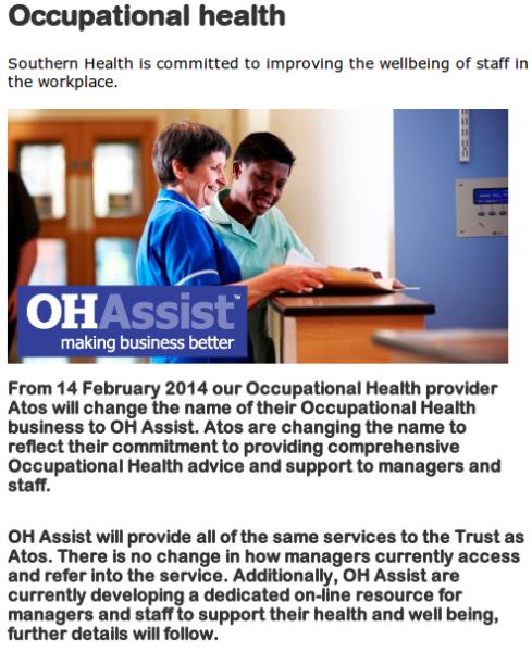 An Atos customer notifies staff of name change to OH Health